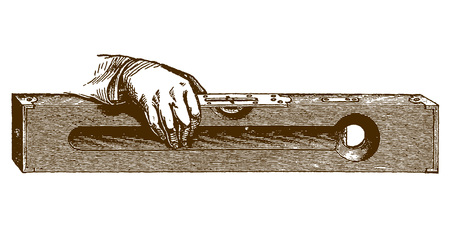 Historic illustration of a hand holding a spirit level (after an etching or engraving from the 19th century)