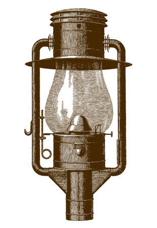 Historic tubular globe gas street lamp (after an engraving or etching from the 19th century) Stock Illustratie
