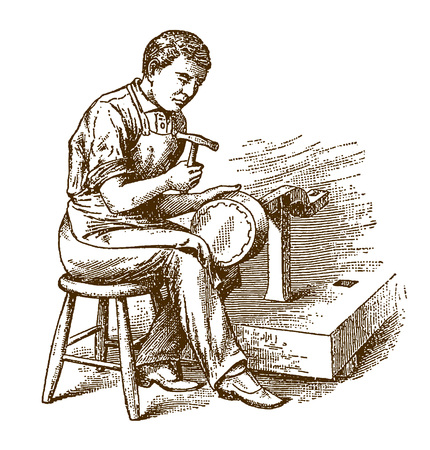 Historic coppersmith sitting on a chair and planishing a kettle, cauldron or pot with a hammer (after an etching or engraving from the 19th century)