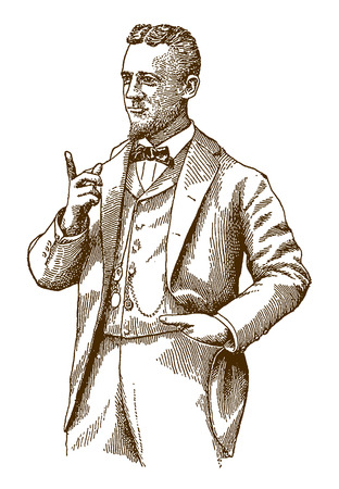 Historic man with a raised index finger wearing a bow tie (after an engraving or etching from the 19th century)