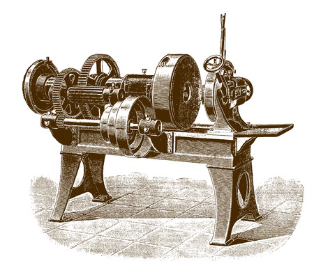 Historic pipe-threading machine in side view (after an engraving or etching from the 19th century)