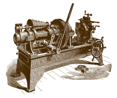 Historic pipe and machine (after an engraving or etching from the 19th century)
