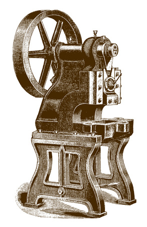 Historic punching and forming press machineÊ(after an engraving or etching from the 19th century)