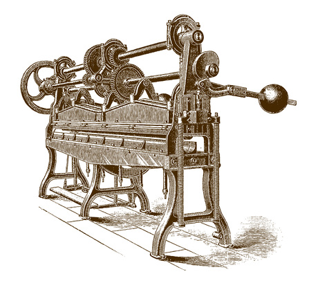 Historic gutter forming and beading machineÊ(after an engraving or etching from the 19th century)