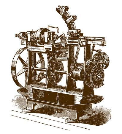 Historic automatic shaving or finishing machine (after an engraving or etching from the 19th century) 向量圖像