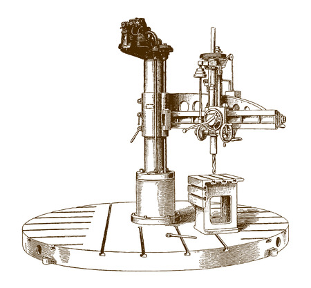Historic electrically driven radial drill machine (after an engraving or etching from the 19th century)