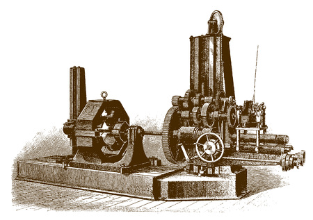 Historic electrically driven boring mill machine (after an engraving or etching from the 19th century)
