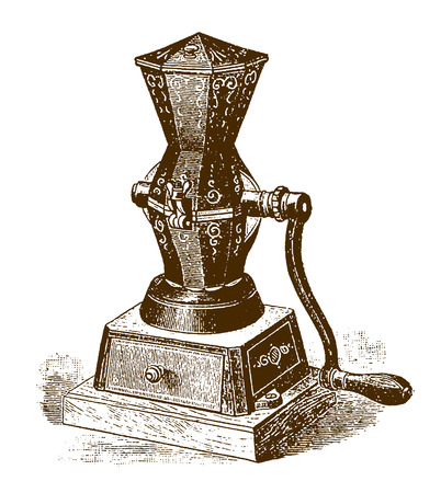Historic mechanical coffee and spice grinder (after an etching or engraving from the 19th century)