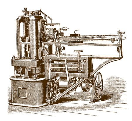 Historic steel testing machine in side view (after an etching or engraving from the 19th century) Illustration