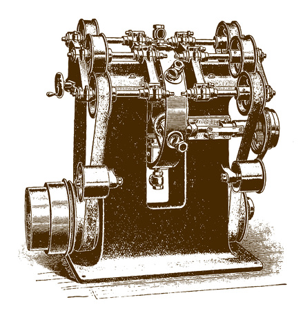 Historic valve milling machine?(after an engraving or etching from the 19th century)