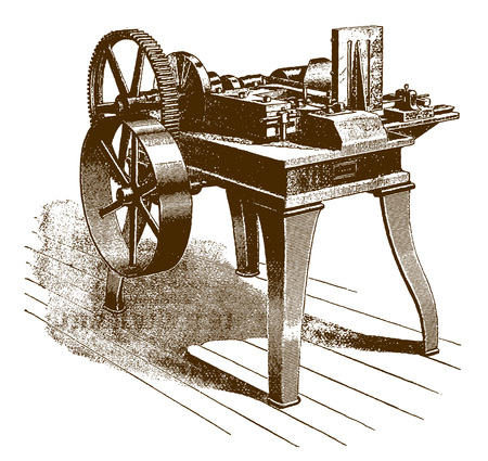 Historic mechanical one-slide wire-forming machineÊ(after an etching or engraving from the 19th century)