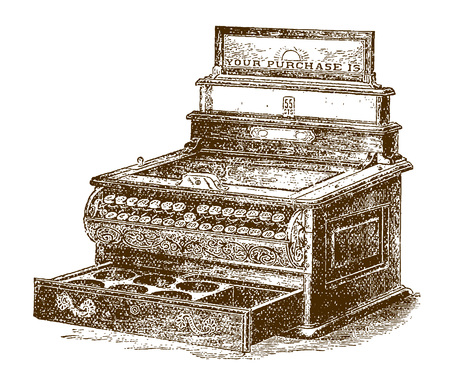 Historic mechanical cash registerÊor till with open drawer (after an etching or engraving from the 19th century) Banco de Imagens - 124933251