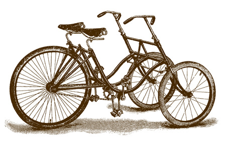 Historical sociable tricycle for two drivers (after an etching or engraving from the 19th century) Illustration