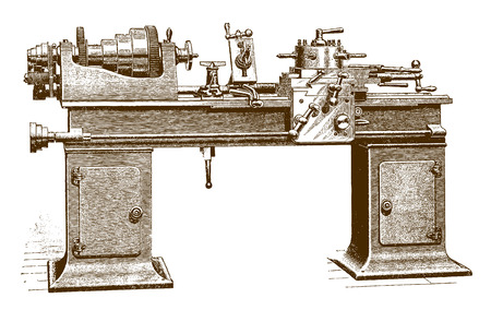 Historic cabinet turret brass lathe machine with friction clutch head (after an etching or engraving from the 19th century)