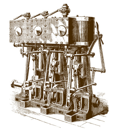 Historic triple-expansion yacht engine (after an engraving or etching from the 19th century)