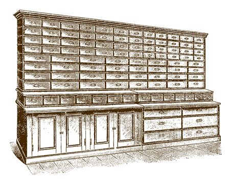 Historic store shelving and drawers for hardware (after an engraving or etching from the 19th century)