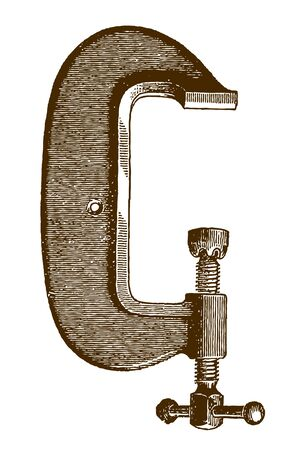 Historic heavy steel clamp in side view (after an etching or engraving from the 19th century) Ilustração