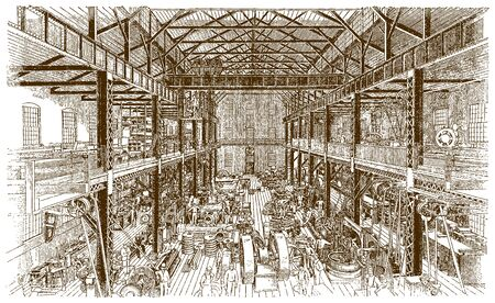 Interior view of a historic machine shop of a factory building with machinery and workers (after an engraving or etching from the 19th century)