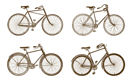 Collection of four historic bicycles (after an etching or engraving from the 19th century)