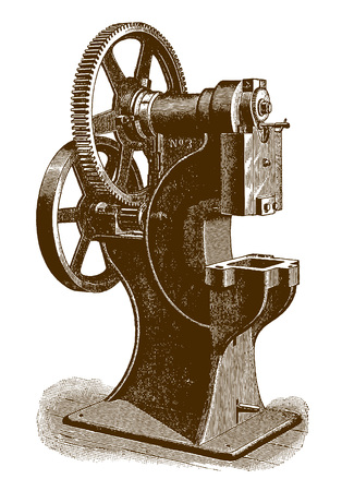 Historic geared pressing machine (after an engraving or etching from the 19th century) Imagens - 124638016