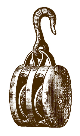 Historic pulley block in side view (after an etching or engraving from the 19th century) Illustration