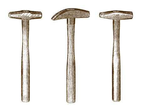 Collection of three historic hammers (after an etching or engraving from the 19th century)
