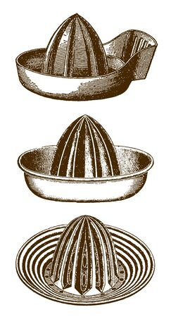 Collection of three historic juice extractors or squeezers (after an etching or engraving from the 19th century) 向量圖像