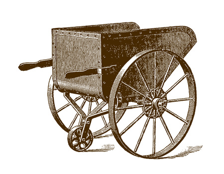 Historical steel charging barrow (after an etching or engraving from the 19th century)