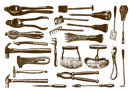 Collection of historic hardware (after an engraving or etching from the 19th century)