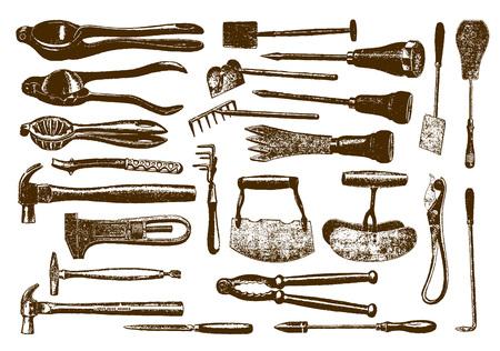 Sammlung historischer Hardware (nach einer Gravur oder Radierung aus dem 19. Jahrhundert)