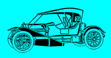 Classic passenger roadster car in side view. Illustration after an etching or engraving from the early 19th century. Editable in layers  イラスト・ベクター素材
