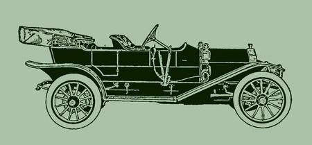 Classic four-seat torpedo tonneau car in side view. Illustration after a lithography or engraving from the early 19th century. Editable in layers