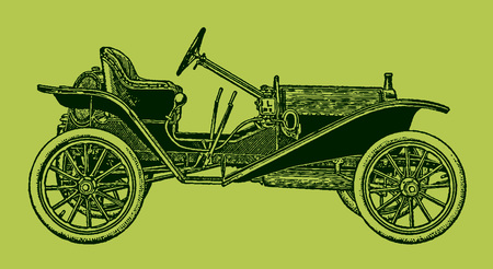 Classic roadster car in side view. Illustration after a lithography or engraving from the early 19th century. Editable in layers  イラスト・ベクター素材