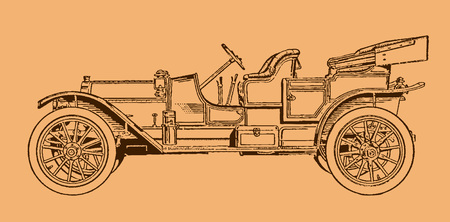 Classic four-passenger touring roadster car in side view. Illustration after a lithography or engraving from the early 19th century. Editable in layers