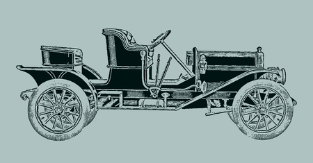 Classic three-passenger roadster car in side view. Illustration after a lithography or engraving from the early 19th century. Editable in layers