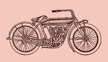 Classic motorcycle in side view. Illustration after a lithography or engraving from the early 19th century. Editable in layers