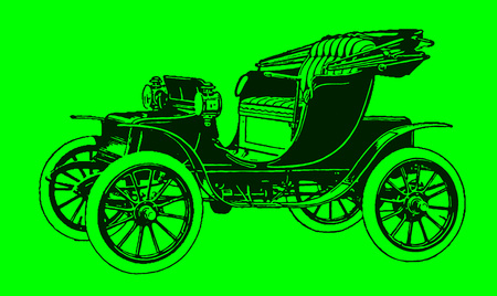 Historic two-seat electric motor car in quarter front view. Illustration after a lithography or engraving from the early 19th century. Editable in layers Illustration