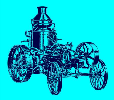Historic steam road locomotive, tractor, vehicle with water tank in quarter view. Illustration after an engraving from the 19th century. Editable in layers Ilustração