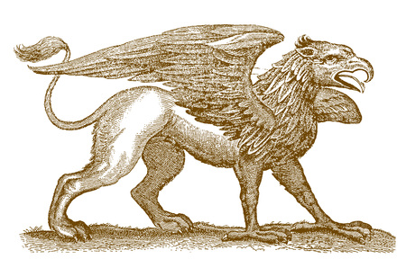 Mythical legendary hybrid creature griffin or gryphon with the front half of an eagle spreading its wings and the rear half of a lion. Illustration after a historic engraving from the 17th century