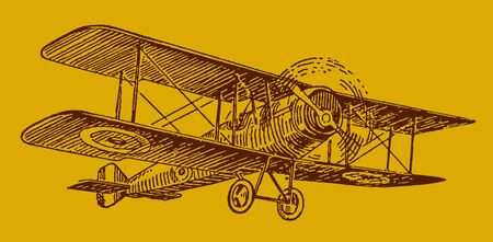 Historical british single-engine biplane on a golden background. Editable in layers