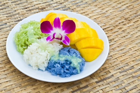 Colorful native Thai style dessert, Mango with sticky rice