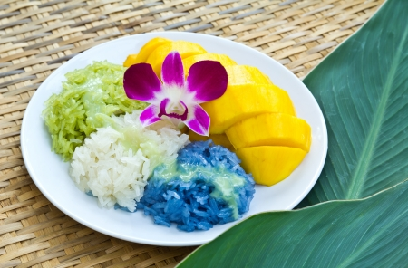 Colorful native Thai style dessert, Mango with sticky rice photo