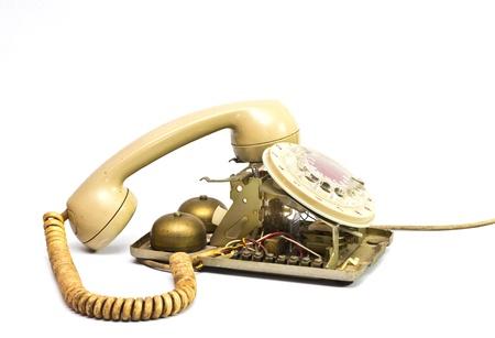 Broken telephone isolated on white background Stock Photo - 8746248