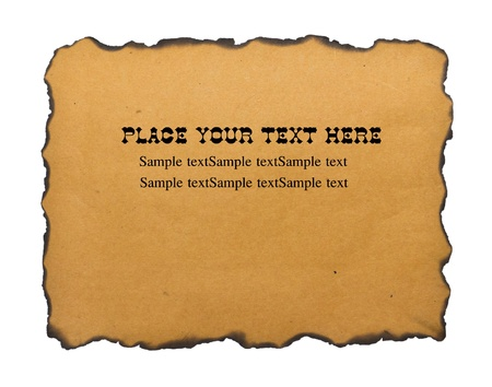 Burned edges paper with sample text Stock Photo