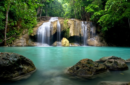 Erawan waterfall in Kanchanaburi province, Thailand Stock Photo
