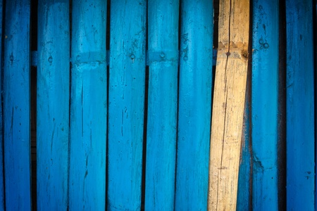 Bamboo wall painted blue Stock Photo