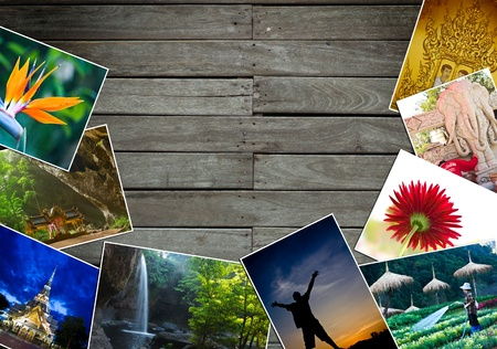 Frame from wood board and many photos Stock Photo - 10222952