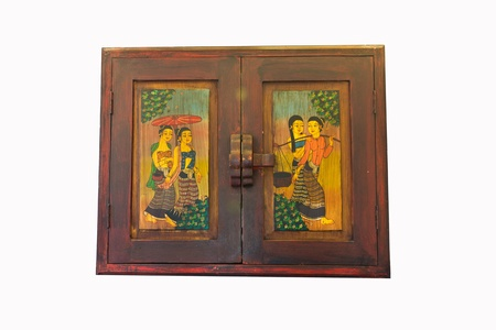 Thai style window panels painted Stock Photo