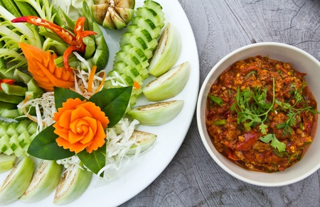 Vegetables and spicy paste