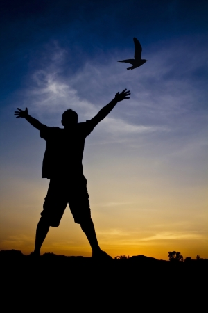 Silhouette of a man with outstretched arms and bird photo
